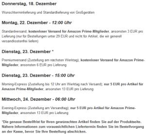 Amazon Bestellfristen für deutsche Kunden